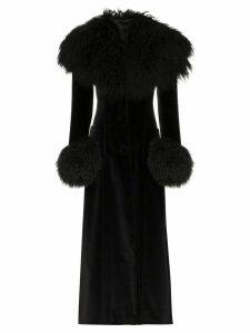 Rockins shearling-effect panel long coat - Black