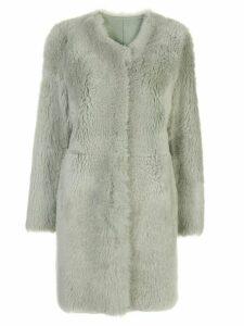 Yves Salomon collarless slim-fit coat - Green