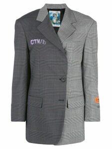Heron Preston checked off centre fastening blazer - Grey