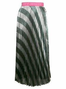 Off-White striped pleated skirt - SILVER