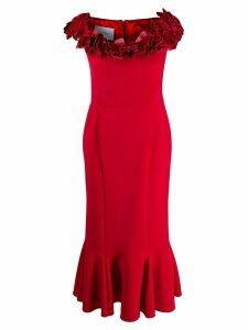 Marchesa floral applique flounce dress - Red