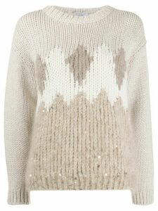 Brunello Cucinelli sequin detail jumper - NEUTRALS