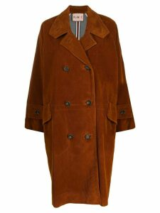 Plan C double-breasted corduroy coat - Brown
