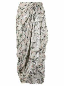 Isabel Marant cadelia print draped skirt - NEUTRALS