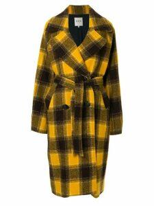 Sea checked tie-waist coat - Yellow