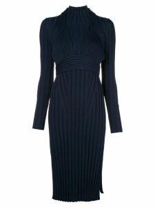 Proenza Schouler Heavy Rib Long Sleeve Mid Dress - Blue