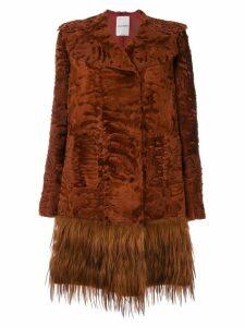 Valentino embossed fur coat - ORANGE