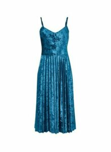 Womens **Luxe Teal Velvet Pleat Cami Dress- Blue, Blue