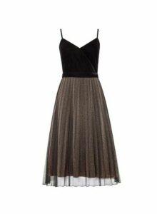 Womens **Luxe Black Velvet Sparkle Cami Dress, Black