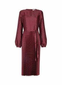 Womens **Tall Berry Jacquard Pleated Dress- Purple, Purple