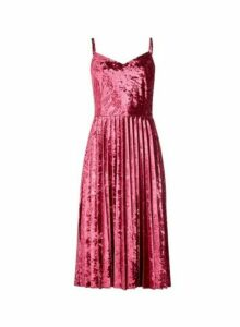 Womens **Luxe Pink Velvet Pleat Camisole Dress- Red, Red