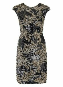 Womens **Little Mistress Black Sequin Mesh Midi Dress, Black