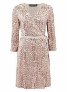 Womens **Little Mistress Mink Embellished Wrap Dress- Pink, Pink