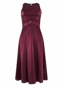 Womens **Little Mistress Red Lace Trim Midi Dress, Red