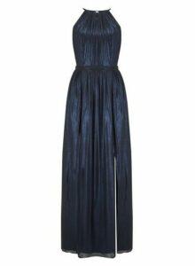 Womens **Little Mistress Blue Foil Maxi Dress, Blue