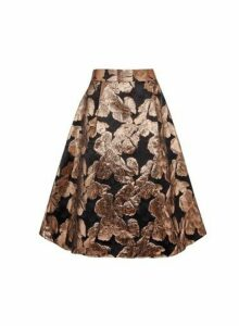 Womens **Luxe Bronze Printed Jacquard Skirt- Brown, Brown