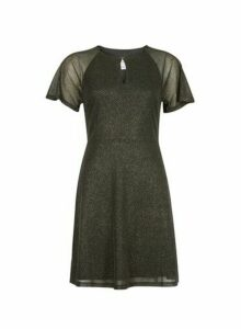 Womens Petite Gold Shimmer Fit And Flare Dress, Gold