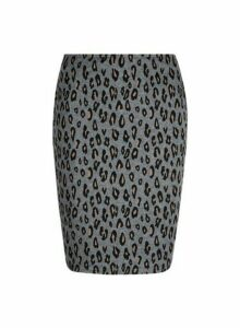 Womens **Tall Grey Animal Print Mini Skirt, Grey