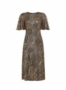 Womens Bronze Swirl Printed Empire Angel Sleeve Midi Dress- Brown, Brown