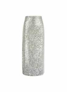 Womens Silver Sequin Midi Skirt, Silver