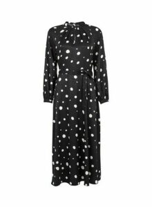 Womens Black Spot Keyhole Midi Dress, Black