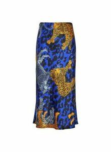 Womens **Lola Skye Blue Satin Midi Skirt- Animal, Animal