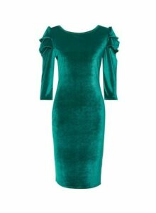 Womens **Tall Green Puff Sleeve Velvet Bodycon Dress, Green
