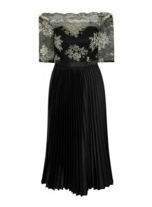 Womens *Chi Chi London Black And Gold Embroidered Midi Dress, Black