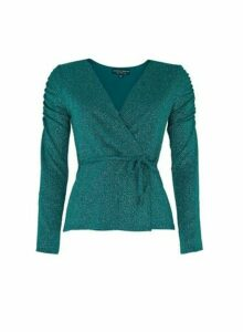 Womens **Emerald Green Ruched Sleeve Top, Green