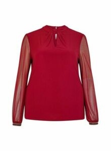 Womens **Billie & Blossom Curve Wine Knot Neck Blouse- Red, Red