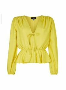 Womens **Lola Skye Yellow Front Tie Top- Green, Green
