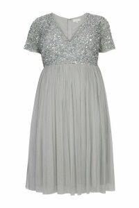 Womens Maya Curve Sequin Maxi Dress -  Grey