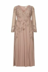 Womens Maya Curve Wrap Maxi Dress With Contrast Embellishment -  Pink