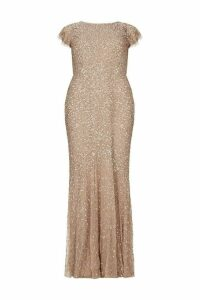 Womens Maya Curve All Over Sequin Maxi Dress -  Nude