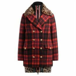 Bazar Deluxe  coat in tartan print with faux fur collar  women's Coat in Red