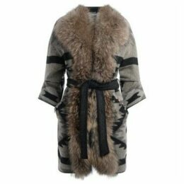 Bazar Deluxe  wool coat with fur collar  women's Coat in Beige