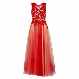 Gina Bacconi Lace And Mesh Maxi Dress
