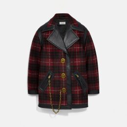 Coach Wool Coat With Leather Detail