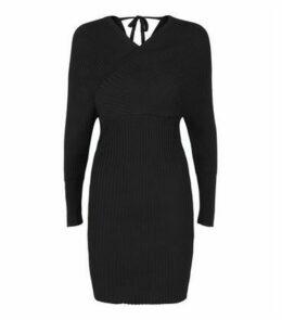 Cameo Rose Black Ribbed Wrap Dress New Look
