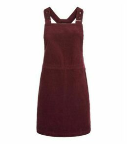 Petite Burgundy Corduroy Pinafore Dress New Look