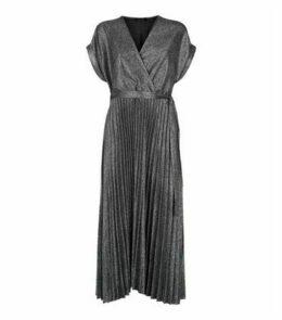 Black Glitter Pleated Wrap Midi Dress New Look