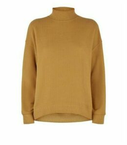 Mustard Brushed High Neck Jumper New Look