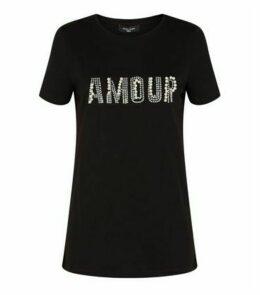 Tall Black Faux Pearl Amour Slogan T-Shirt New Look