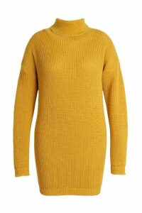 Womens Plus Roll Neck Jumper Dress - yellow - 20, Yellow