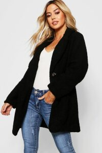 Womens Petite Button Through Teddy Coat - black - XS, Black