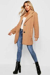 Womens Petite Button Through Teddy Coat - beige - M, Beige