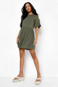 Womens Tall Ribbed Frill Sleeve Smock Dress - green - 12, Green