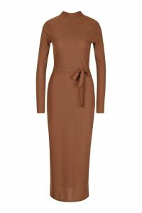 Womens Tall High Neck Belted Rib Midi Dress - brown - 6, Brown