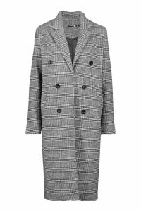 Womens Tall Double Breasted Check Coat - black - 6, Black