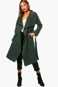 Womens Belted Waterfall Coat - green - M/L, Green